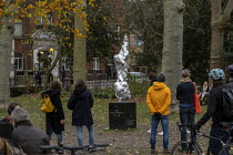 25-11-2020 - Mary Wollstonecraft statue by artist Maggi Hambling. The artwork of the philosopher and feminist icon was funded by the Mary on The Green Campaign. Newington Green, Hackney, London. Her quotation: I d... © Jess Hurd