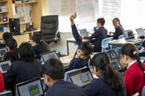 27-11-2020 - Students in class Covid bubble, Lansbury Lawrence Primary School during Covid pandemic lockdown, Poplar, East London. © Jess Hurd