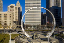 29-11-2020 - USA. Transcending monument, Hart Plaza, Detroit. Dedicated to the labor movement in Michigan it was erected by the Michigan Labor History Society. Two steel arcs (which weigh 30 tons) almost form a ci... © Jim West