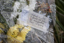 05-12-2020 - Flowers laid after Avonmouth explosion kills four. Wessex Water Treatment plant near Bristol. A chemical tank that treated biosolids exploded killing four including a teenager who were working ontop o... © Paul Box