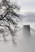 22-11-2020 - Clifton suspension bridge in fog, Clifton, Bristol. Morning mist surrounding the bridge spanning the Avon Gorge and the River Avon. A Grade I listed structure by Isambard Kingdom Brunel © Paul Box
