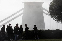 22-11-2020 - People not socially distancing. Clifton suspension bridge in the fog, Clifton, Bristol © Paul Box