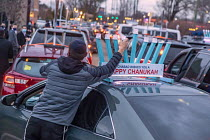 13-12-2020 - Michigan, USA. Car Top Menorah Parade, fourth night of Hanukkah. Happy Chanukah © Jim West