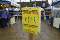 18-12-2020 - Maintain a Safe Social Distance sign, Friday Market, Stratford upon Avon, Warwickshire © John Harris