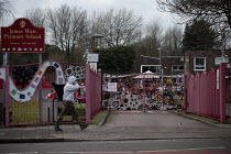 04-01-2021 - Closed primary school due to Covid-19, Birmingham. James Watt Primary School, Handsworth unable to open due to staffing issues and safety concerns. Closed gates © John Harris
