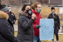 16-01-2021 - Detroit, USA Rashida Tlaib speaking. No Evictions! protest the pre Christmas eviction of a single mother and her three children. Police helped the landlord evict Whithey Burney after she refused the l... © Jim West