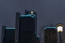 16-01-2021 - Detroit, USA New General Motors logo, GM headquarters, Renaissance Center. The company says the logo symbolises its move towards making electric vehicles. © Jim West