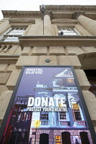 06-01-2021 - Closed Bristol Old Vic Theatre. Covid-19 lockdown, King street, Bristol. Donate To Protect Your Theatre sign appealing for funds © Paul Box