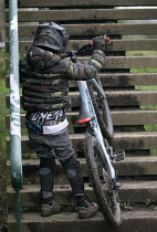 03-01-2021 - 8 year old autistic boy riding his bike down steep steps, Bristol © Paul Box