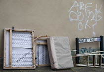 11-01-2021 - Are you doing okay? graffiti, beds dumped in the street Bristol © Paul Box