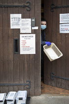 11-01-2021 - Urine specimens are collected safely, The Family Practice, GP surgery, Bristol. © Paul Box