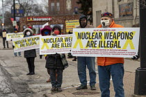 22-01-2021 - Detroit, USA: Prohibition of Nuclear Weapons Treaty protest. Nuclear Weapons Are Illegal. Peace activists protest for the USA to sign the TPNW. Fifty one nations - not including the USA or other nucle... © Jim West