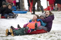 24-01-2021 - Children sledging in the snow, St Andrews Park, Bristol © Paul Box