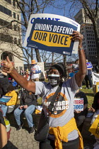 07-11-2020 - Detroit, USA: Rally celebrating Joe Biden election victory. Members of trade unions and community groups celebrate the Democrats presedential election victory © Jim West