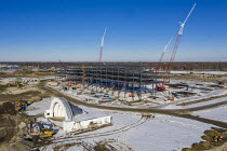01-29-2021 - Detroit, USA - Construction of Amazon Distribution Center, Michigan State Fairgrounds. The 3.8 million square foot $400 million distribution center will be the largest Amazon facility in Michigan. The... © Jim West