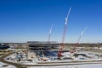29-01-2021 - Detroit, USA - Construction of Amazon Distribution Center, Michigan State Fairgrounds. The 3.8 million square foot $400 million distribution center will be the largest Amazon facility in Michigan. © Jim West