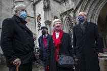 03-02-2021 - Shrewsbury 24 appeal hearing, legal team and pickets, Royal Courts of Justice, London. (L to R) Terry Renshaw, Harry Chadwick, Eileen Turnbull, Mark Turnbull © Jess Hurd