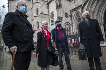 03-02-2021 - Shrewsbury 24 appeal hearing, legal team and pickets, Royal Courts of Justice, London. (L to R) Terry Renshaw, Eileen Turnbull, Harry Chadwick, Mark Turnbull © Jess Hurd