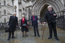 03-02-2021 - Shrewsbury 24 appeal hearing, legal team and pickets, Royal Courts of Justice, London. (L to R) Mark Turnbull, Eileen Turnbull, Harry Chadwick, Terry Renshaw © Jess Hurd