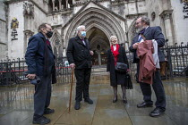 03-02-2021 - Shrewsbury 24 appeal hearing, legal team and pickets, Royal Courts of Justice, London. (L to R) Harry Chadwick, Terry Renshaw, Eileen Turnbull and lawyer Jamie Potter © Jess Hurd