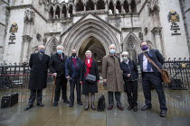 03-02-2021 - Shrewsbury 24 appeal hearing, legal team and pickets, Royal Courts of Justice, London. (L to R) Mark Turnbull, Terry Renshaw, Harry Chadwick, Eileen Turnbull, John McKinsie Jones with wife Rita McKins... © Jess Hurd