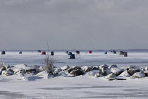 07-02-2021 - Fair Haven, Michigan, USA: Ice fishing shelters, Anchor Bay, Lake St. Clair © Jim West