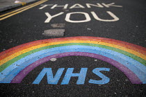 16-02-2021 - Thank You NHS tribute, The Royal London Hospital, Barts Health NHS Trust, Whitechapel, East London. © Jess Hurd