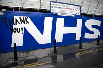 02-16-2021 - Thank You NHS tribute, building site outside The Royal London Hospital, Barts Health NHS Trust, Whitechapel, East London. © Jess Hurd