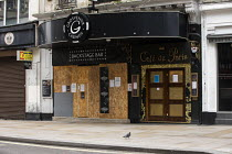 03-03-2021 - Closed Cafe de Paris venue during Covid pandemic lockdown, Central London. Grosvenor Casinos Backstage Bar © Jess Hurd