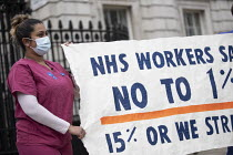 07-03-2021 - NHS nurses protesting against the 1% pay rise announced in the budget, outside Downing Street, Westminster, London © Jess Hurd