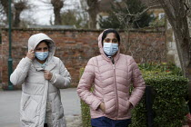 05-03-2021 - Care workers wearing face masks going to collect their children from school. Kineton © John Harris