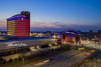 09-03-2021 - USA: Cityscape of Detroit, MotorCity Casino Hotel at night. The sweeping roof design, a 304-foot-long stainless steel undulating ribbon is a reference to the automotive history of Detroit The Motor Ci... © Jim West