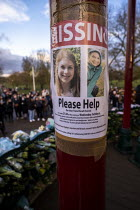 13-03-2021 - Missing poster. Floral tributes, vigil for Sarah Everard, the Bandstand, Clapham Common, South London in memory of murdered Sarah Everard. Police Missing Poster. Women gathered to pay tribute and to R... © Jess Hurd