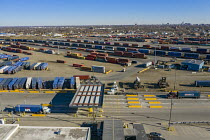 13-03-2021 - USA Detroit, CSX Intermodal Terminal. Shipping containers to be transferred between trucks and trains © Jim West