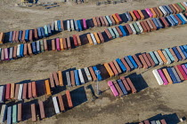 13-03-2021 - USA, Detroit. Norfolk Southern Intermodal Terminal. Shipping containers to be transferred between trucks and trains © Jim West
