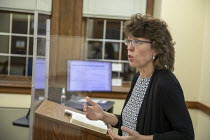 04-11-2020 - Detroit, Michigan USA Dr. Mary Healy, professor of Sacred Scripture at Sacred Heart Major Seminary, teaching a class to deacon candidates on the Synoptic Gospels. © Jim West