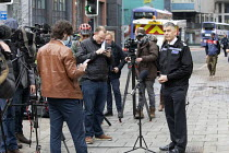 22-03-2021 - Media interviewing Andy Marsh Chief Constable at Avon and Somerset Constabulary after Protest against the Police Bill, Bridewell Police Station, Bristol © Paul Box
