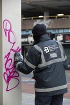 22-03-2021 - Cleaning up Bridewell Police Station graffiti after Police Bill Protest, Bristol © Paul Box