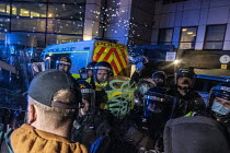 21-03-2021 - Police spraying pepper spray into eyes of a photographer. Unjustified, unreasonable and dangerous use of pepper spray by a Policewoman against a journalist. Kill The Bill protest against the Police Bi... © Paul Box