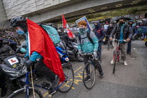 07-04-2021 - Deliveroo delivery workers striking over pay, terms, conditions and safety, Shoreditch, Hackney, East London. © Jess Hurd