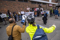 07-04-2021 - Anna Livingstone, GP speaking Tower Hamlets Community Housing residents protesting about massive service charge increases for housing, Watney Market, East London. © Jess Hurd
