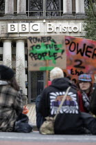 07-04-2021 - Bristol Kill the Bill protest sit down in front of BBC as the protesters feel they have been unfairly reported by the media, Bristol © Paul Box