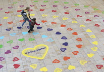 10-09-2020 - Hundreds of socially distanced hearts appear in Bristol. Cabot Circus. Follow your Heart: Six trails, containing a total of 1,000 rainbow coloured hearts painted by Upfest crew members, guide you arou... © Paul Box