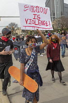 10-04-2021 - Detroit, USA: Protest against Police Aided Evictions. Activists rally outside Detroit police headquarters, protesting police who have illegally helped landlords evict tenants. The rally was organized... © Jim West
