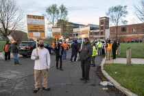 12-04-2021 - Detroit, USA: Laborers Union picketing the old General Motors Cadillac stamping plant, which has been closed since 1987. LIUNA protesting that environmental remediation is being done by a non union co... © Jim West