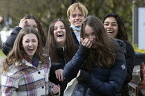 12-04-2021 - Teenage girls laughing, Stratford-upon-Avon, Warwickshire © John Harris