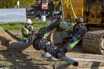 23-04-2021 - Detroit, USA: Contractors for DTE Energy replacing gas pipes, old cast iron and bare steel natural gas pipes. The utility is in the midst of a 25 year plan to upgrade its underground infrastructure © Jim West